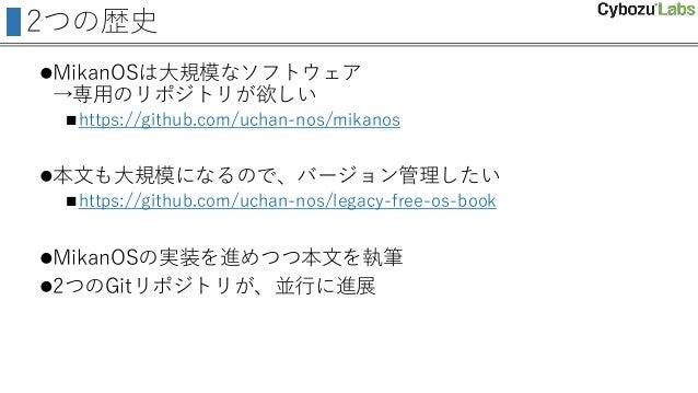 2つの歴史 MikanOSは大規模なソフトウェア →専用のリポジトリが欲しい https://github.com/uchan-nos/mikanos 本文も大規模になるので、バージョン管理したい https://github.com/...