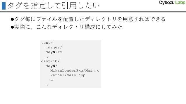 タグを指定して引用したい タグ毎にファイルを配置したディレクトリを用意すればできる 実際に、こんなディレクトリ構成にしてみた text/ images/ dayN.re … distrib/ dayN/ MikanLoaderPkg/Mai...