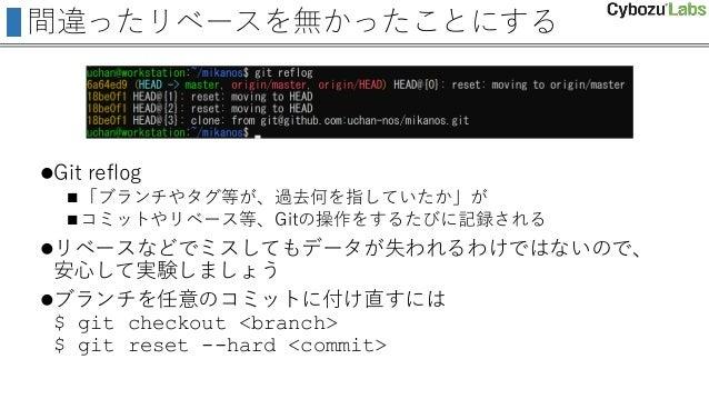 間違ったリベースを無かったことにする Git reflog 「ブランチやタグ等が、過去何を指していたか」が コミットやリベース等、Gitの操作をするたびに記録される リベースなどでミスしてもデータが失われるわけではないので、 安心して実...
