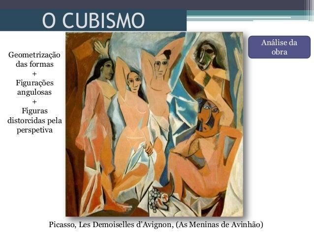 O CUBISMOPicasso, Les Demoiselles d'Avignon, (As Meninas de Avinhão)Geometrizaçãodas formas+Figuraçõesangulosas+Figurasdis...