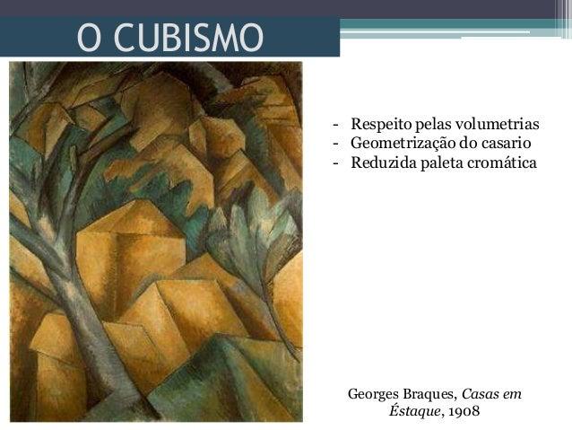 O CUBISMOGeorges Braques, Casas emÉstaque, 1908- Respeito pelas volumetrias- Geometrização do casario- Reduzida paleta cro...