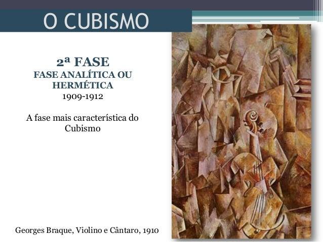 O CUBISMOGeorges Braque, Violino e Cântaro, 19102ª FASEFASE ANALÍTICA OUHERMÉTICA1909-1912A fase mais característica doCub...