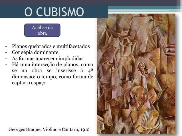 O CUBISMOGeorges Braque, Violino e Cântaro, 1910- Planos quebrados e multifacetados- Cor sépia dominante- As formas aparec...