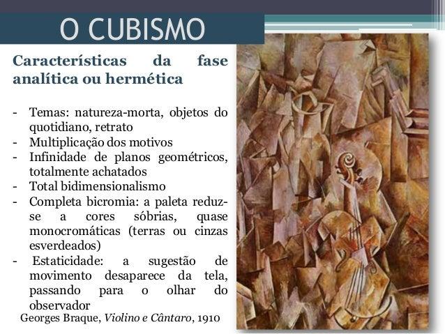 O CUBISMOGeorges Braque, Violino e Cântaro, 1910Características da faseanalítica ou hermética- Temas: natureza-morta, obje...