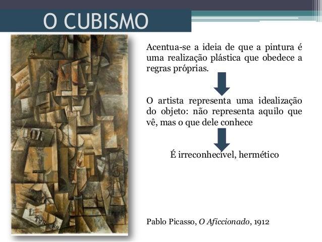 O CUBISMOPablo Picasso, O Aficcionado, 1912Acentua-se a ideia de que a pintura éuma realização plástica que obedece aregra...