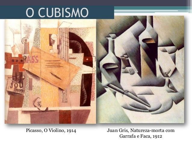 O CUBISMOJuan Gris, Natureza-morta comGarrafa e Faca, 1912Picasso, O Violino, 1914