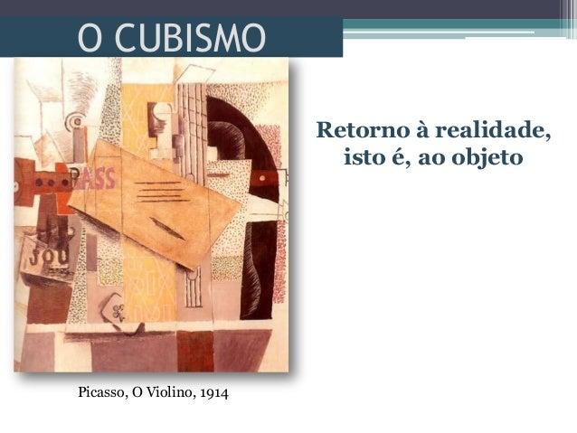 O CUBISMORetorno à realidade,isto é, ao objetoPicasso, O Violino, 1914