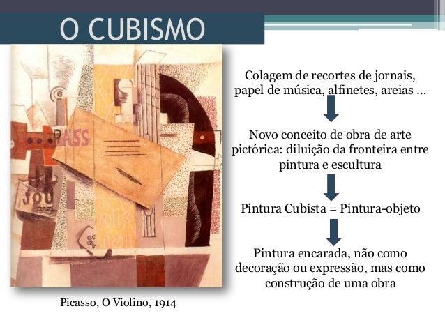 O CUBISMOColagem de recortes de jornais,papel de música, alfinetes, areias …Novo conceito de obra de artepictórica: diluiç...