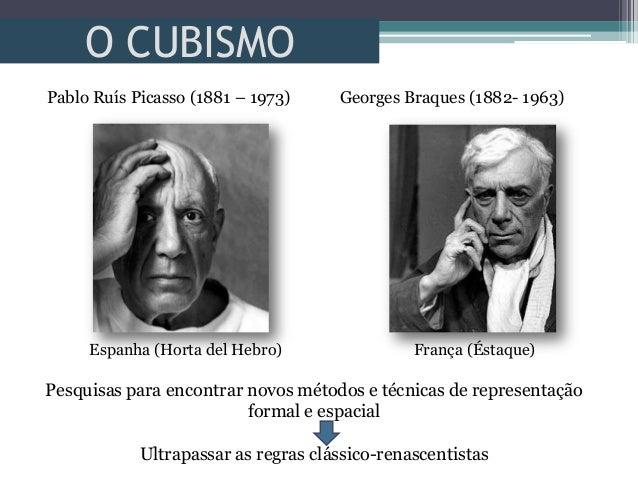 O CUBISMOPablo Ruís Picasso (1881 – 1973) Georges Braques (1882- 1963)Espanha (Horta del Hebro) França (Éstaque)Pesquisas ...