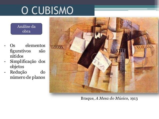 O CUBISMO- Os elementosfigurativos sãonítidos- Simplificação dosobjetos- Redução donúmero de planosBraque, A Mesa do Músic...