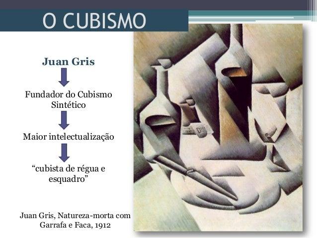 """O CUBISMOJuan Gris, Natureza-morta comGarrafa e Faca, 1912Juan GrisFundador do CubismoSintéticoMaior intelectualização""""cub..."""