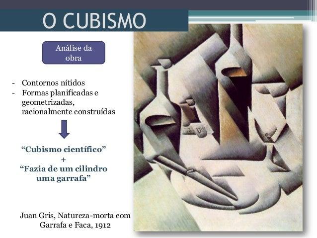O CUBISMOJuan Gris, Natureza-morta comGarrafa e Faca, 1912Análise daobra- Contornos nítidos- Formas planificadas egeometri...