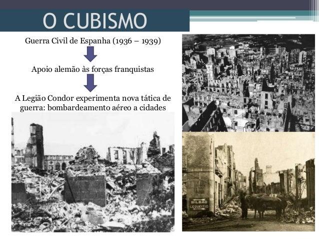 O CUBISMOGuerra Civil de Espanha (1936 – 1939)Apoio alemão às forças franquistasA Legião Condor experimenta nova tática de...