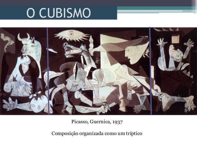 O CUBISMOPicasso, Guernica, 1937Composição organizada como um tríptico