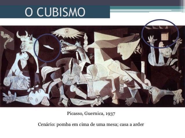 O CUBISMOPicasso, Guernica, 1937Cenário: pomba em cima de uma mesa; casa a arder