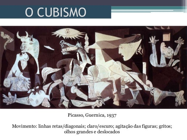 O CUBISMOPicasso, Guernica, 1937Movimento: linhas retas/diagonais; claro/escuro; agitação das figuras; gritos;olhos grande...