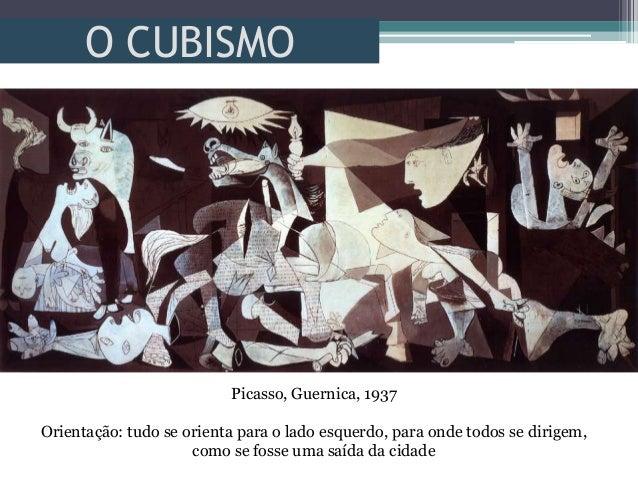 O CUBISMOPicasso, Guernica, 1937Orientação: tudo se orienta para o lado esquerdo, para onde todos se dirigem,como se fosse...