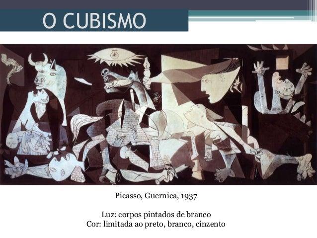 O CUBISMOPicasso, Guernica, 1937Luz: corpos pintados de brancoCor: limitada ao preto, branco, cinzento