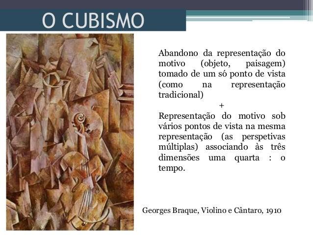 O CUBISMOGeorges Braque, Violino e Cântaro, 1910Abandono da representação domotivo (objeto, paisagem)tomado de um só ponto...