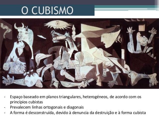 O CUBISMO- Espaço baseado em planos triangulares, heterogéneos, de acordo com osprincípios cubistas- Prevalecem linhas ort...