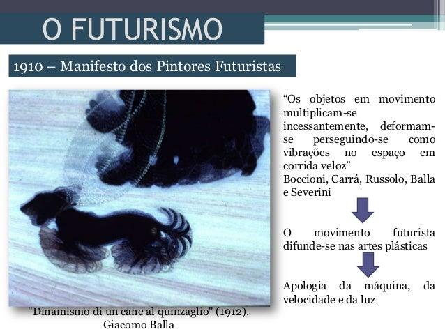 """O FUTURISMO1910 – Manifesto dos Pintores Futuristas""""Dinamismo di un cane al quinzaglio"""" (1912).Giacomo Balla""""Os objetos em..."""