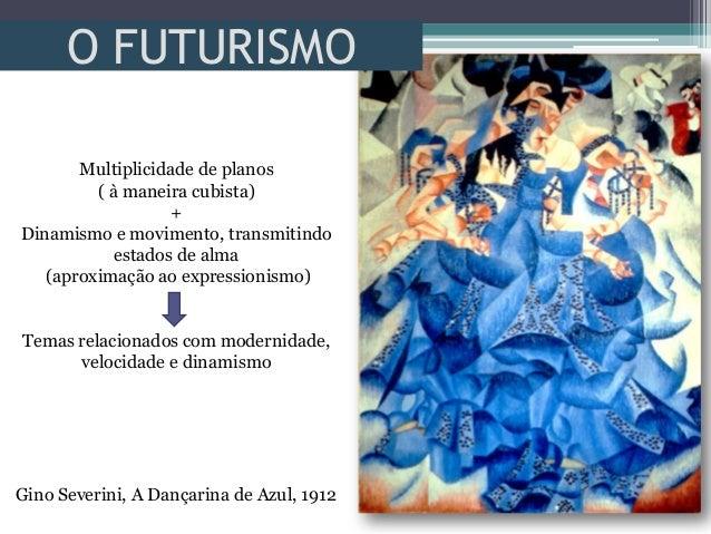 O FUTURISMOGino Severini, A Dançarina de Azul, 1912Multiplicidade de planos( à maneira cubista)+Dinamismo e movimento, tra...