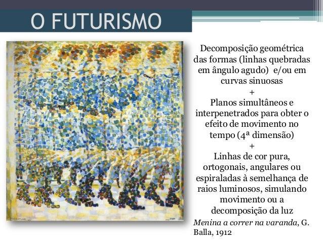 O FUTURISMOMenina a correr na varanda, G.Balla, 1912Decomposição geométricadas formas (linhas quebradasem ângulo agudo) e/...