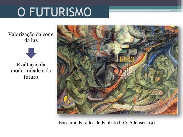 O FUTURISMOValorização da cor eda luzExaltação damodernidade e dofuturoBoccioni, Estados de Espírito I, Os Adeuses, 1911