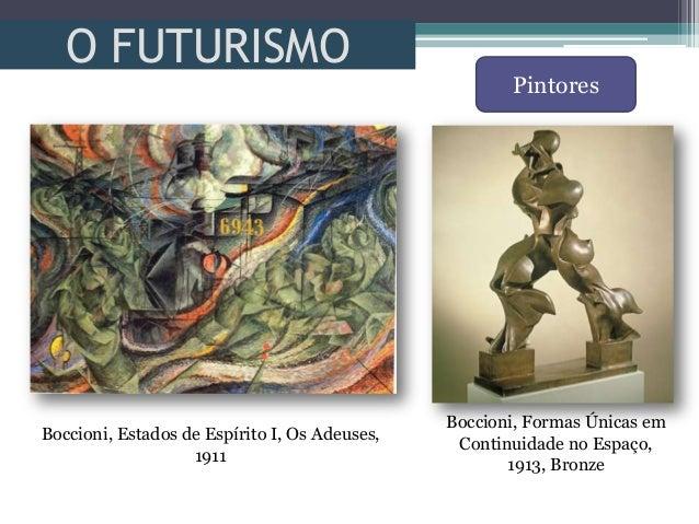 O FUTURISMOPintoresBoccioni, Estados de Espírito I, Os Adeuses,1911Boccioni, Formas Únicas emContinuidade no Espaço,1913, ...