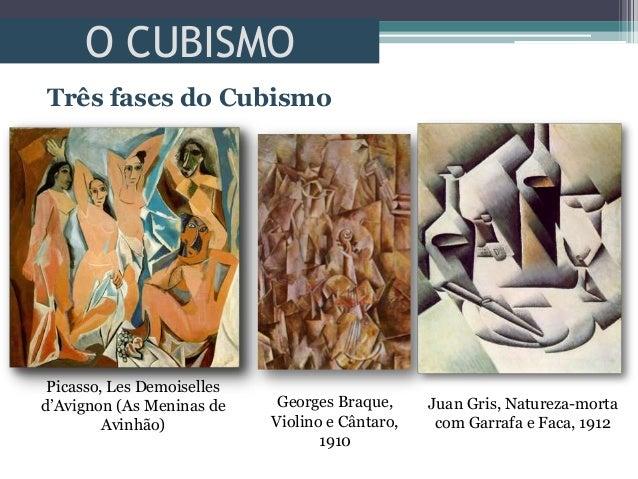 O CUBISMOTrês fases do CubismoPicasso, Les Demoisellesd'Avignon (As Meninas deAvinhão)Georges Braque,Violino e Cântaro,191...