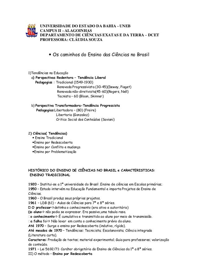 UNIVERSIDADE DO ESTADO DA BAHIA - UNEB CAMPUS II - ALAGOINHAS DEPARTAMENTO DE CIÊNCIAS EXATAS E DA TERRA – DCET PROFESSORA...