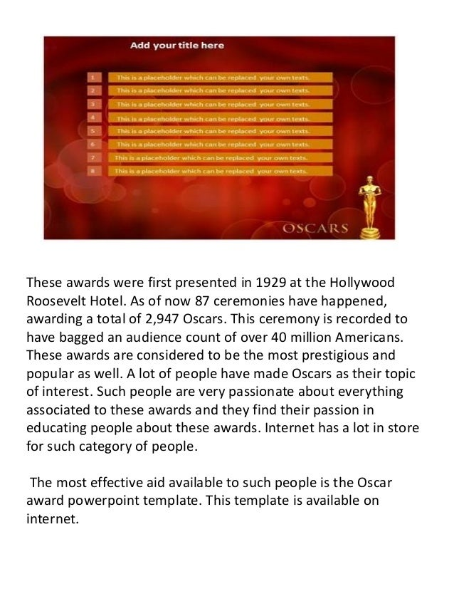 oscar award powerpoint template and background, Modern powerpoint