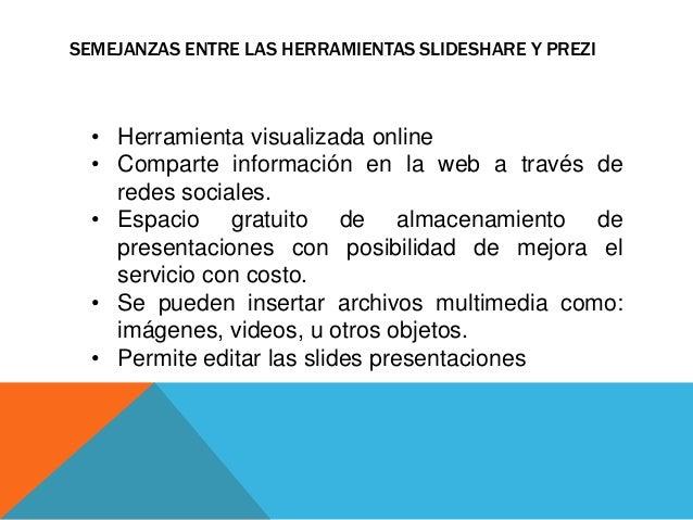 SEMEJANZAS ENTRE LAS HERRAMIENTAS SLIDESHARE Y PREZI  • Herramienta visualizada online  • Comparte información en la web a...