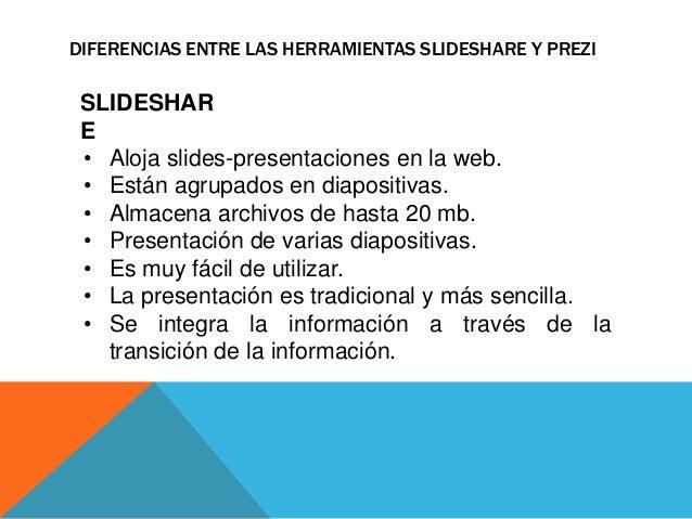 DIFERENCIAS ENTRE LAS HERRAMIENTAS SLIDESHARE Y PREZI  SLIDESHAR  E  • Aloja slides-presentaciones en la web.  • Están agr...
