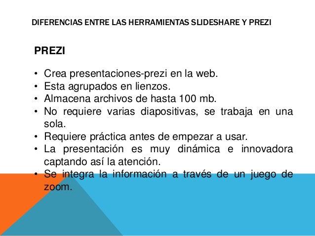 DIFERENCIAS ENTRE LAS HERRAMIENTAS SLIDESHARE Y PREZI  PREZI  • Crea presentaciones-prezi en la web.  • Esta agrupados en ...