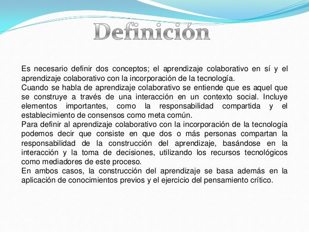 Podemos mencionar varios aspectos importantes del aprendizaje colaborativo:1. Cooperación entre los miembros del grupoLos ...