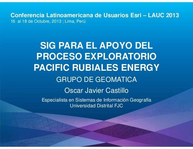 Conferencia Latinoamericana de Usuarios Esri – LAUC 2013 16 al 18 de Octubre, 2013 | Lima, Perú  SIG PARA EL APOYO DEL PRO...