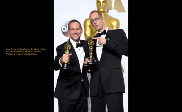 Jonas Rivera and Pete Docter, the winners of the best animated feature award for Inside Out Photograph: Steve Granitz/Wire...