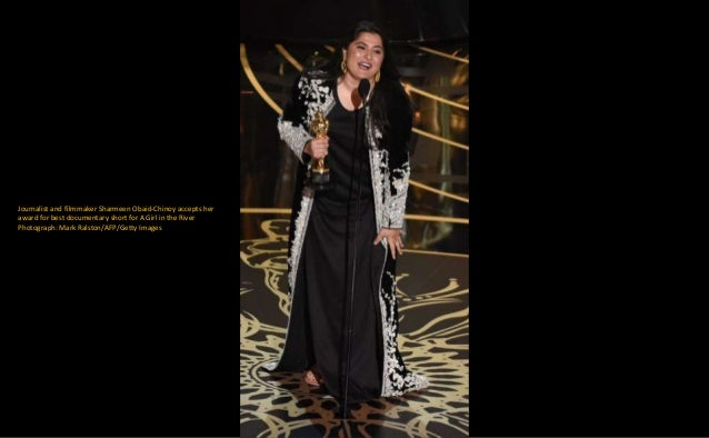 Journalist and filmmaker Sharmeen Obaid-Chinoy accepts her award for best documentary short for A Girl in the River Photog...