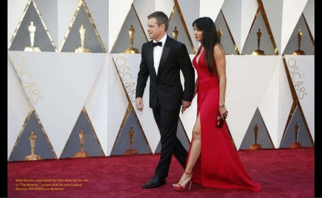 """Christian Bale, nominated for Best Supporting Actor for his role in """"The Big Short,"""" arrives with wife Sibi Blazic. REUTER..."""