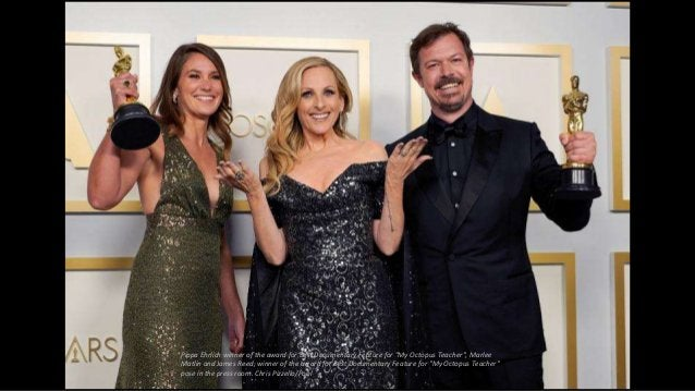 """Pippa Ehrlich winner of the award for Best Documentary Feature for """"My Octopus Teacher"""", Marlee Matlin and James Reed, win..."""