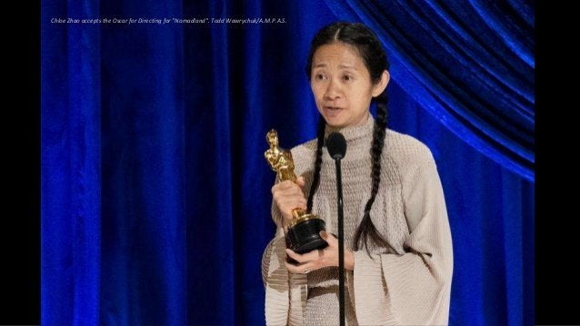 """Chloe Zhao accepts the Oscar for Directing for """"Nomadland"""". Todd Wawrychuk/A.M.P.A.S."""