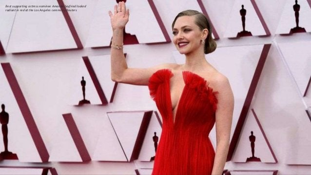 Best supporting actress nominee Amanda Seyfried looked radiant in red at the Los Angeles ceremony.Reuters