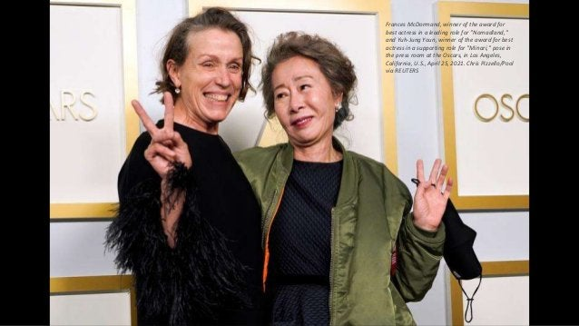 """Frances McDormand, winner of the award for best actress in a leading role for """"Nomadland,"""" and Yuh-Jung Youn, winner of th..."""