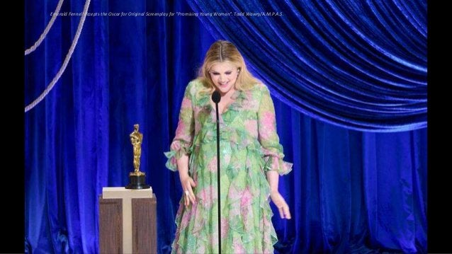 """Emerald Fennell accepts the Oscar for Original Screenplay for """"Promising Young Woman"""". Todd Wawry/A.M.P.A.S."""