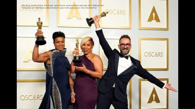 """Mia Neal, Jamika Wilson and Sergio Lopez-Rivera, winners of the award for Best Makeup and Hairstyling for """"Ma Rainey's Bla..."""