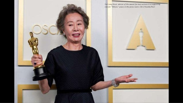 """Yuh-Jung Youn, winner of the award for best actress in a supporting role for """"Minari,"""" poses in the press room. Chris Pizz..."""