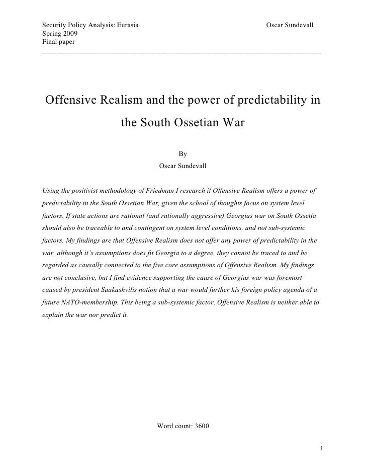 Security Policy Analysis: Eurasia                             Oscar Sundevall Spring 2009 Final paper ____________________...