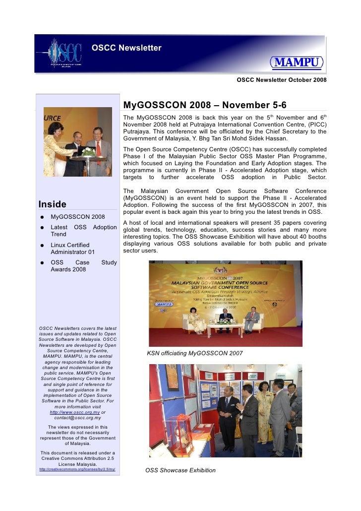 OSCC Newsletter                                                                                           OSCC Newsletter ...