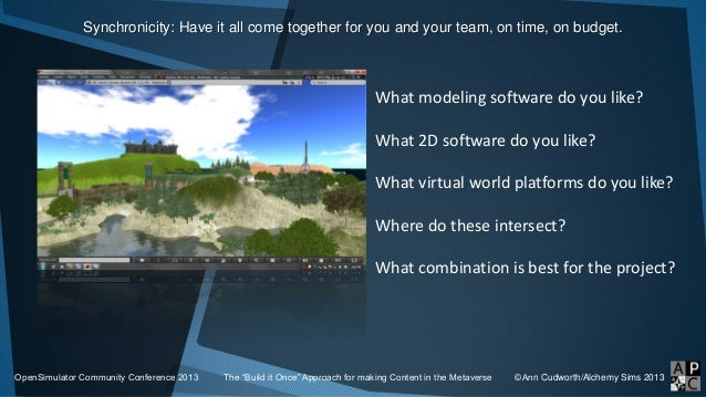 Synchronicity: Have it all come together for you and your team, on time, on budget. OpenSimulator Community Conference 201...